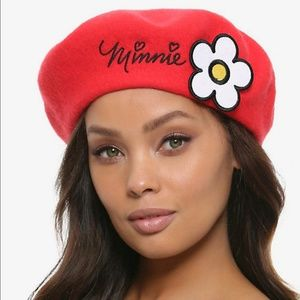 Disney Minnie Mouse Beret Red Flower NWT